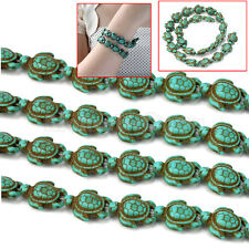 Fashion A Strand Turquoise Carved Turtle Shaped Spacer Charm Beads 14*18mm Blue