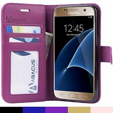 Purple PU Flip Wallet Cover Case for Samsung Galaxy S7 Phone