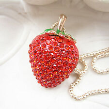 Rose Gold Plated Red Crystal Strawberry Fruit Pendant Chain Sweater Necklace
