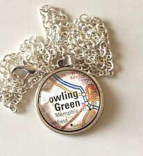 PLUM SPRINGS BOWLING GREEN KENTUCKY USA Map Pendant Vintage necklace ATLAS F04