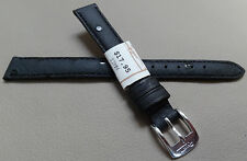 ZRC France Made Black Ostrich Grain Matte 12mm Watch Band Chrome Buckle $17.95