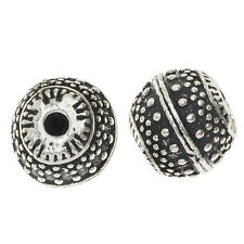 Lead-Free Pewter Beads, Round 11.5mm, 6 Pieces, Antiqued Silver