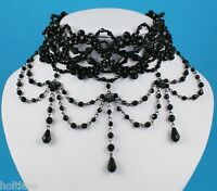 Victorian Edwardian Style Black Beaded  Fancy Dress Hen Party  Choker Necklace