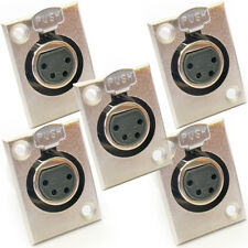 QTY 5 - XLR 4 Pin/Pole Female Solder Connector-Chassis Panel Mount Module Socket