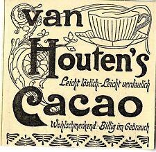 Van Houten`s Cacao Leicht löslich- Leicht verdaulich Historische Annonce 1901