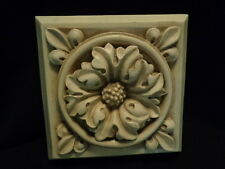 Two floral resin tile plaque Old World tuscan decor 7 x 7 inches