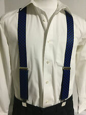 "New, Men's, Blue and Black Checkerboard, 1.5"", XL, Adj. Suspenders / Braces, USA"