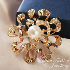 18K Gold Plated Stunning Large Flower Genuine Swarovski Created Pearl Brooch