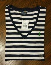 Ralph Lauren Polo Sport Women's V-Neck Short Sleeve Shirt Size Small Blue/White