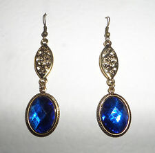 VICTORIAN STYLE FACETED DEEP BLUE OVAL GOLD PLATED MARQUISE SHAPE EARRINGS