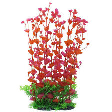 Manmade Plastic Plant for Fish Tank, 14.2-Inch Height, Red/Green