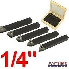 "Anytime Tools 5 Piece 1/4"" MINI LATHE INDEXABLE CARBIDE INSERT TOOL BIT SET"