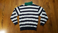Nautica Striped Turtleneck Sweatshirt XL green white navy LS Sailboat VTG 90s