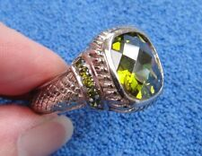 Sterling Silver Ring w/ Large Checkerboard Cut Lime Green Color Stone Size 12.5