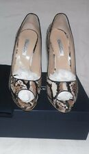 OSCAR DE LA RENTA KUWANA AYERS BROWN SNAKE PRINT LEATHER PUMPS Sz.11US/41 IT
