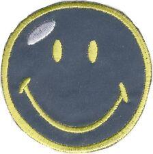 SMILEY - silber Reflex - Aufnäher Aufbügler Applikation Patch Badge - OVP #9151