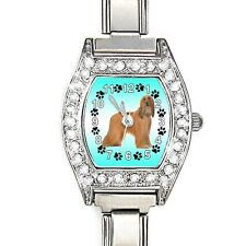 Afghan Hound CZ Ladies Stainless Steel Italian Charm Bracelet Wrist Watch BJ1162