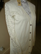 BNWT CREAM MICHAEL KORS CARDIGAN WITH DIAMANTE DETAIL ON SLEEVES  -SZ S - L@@K