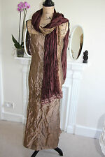 Monsoon Gold Crinkle Crushed Satin Gown Dress Maxi Strappy 10 S Scarf Evening S