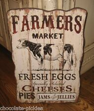 Large COW Farmers Market Wood Wall SIGN*Primitive/French Country Kitchen Decor