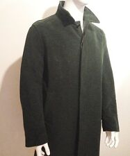 Filippo Chiesa Men's Dark Green Coat, Made in Italy, Sueded Cotton Size 56