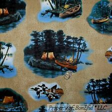 BonEful Fabric FQ Cotton Quilt Scenic Tree S Camp Fire Duck Hunt Tent Canoe Fish