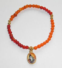 Glass Bead Hindu God Durga & Shiva Bracelet Orange