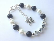 Girls personalised butterfly charm bracelet jewellery gift - any name!!
