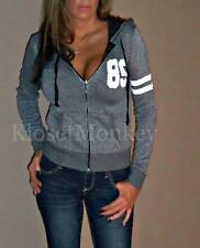 SEXY CHARCOAL GRAY WHITE SPORT ZIPPER HOODIE STRIPES JACKET HOOD SOFT TOP SMALL