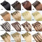 Full Head Clip in 100% Remy Real Human Hair Extensions Straight 15inch Any Color
