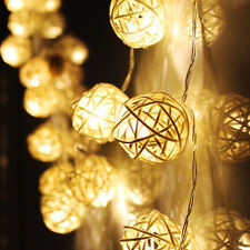 20 LED Wedding Party Xmas Rattan Ball Fairy Lamp String Lights Home Garden Decor
