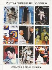 20th CENTURY BEATLES PRINCESS DIANA ELVIS PRESLEY GANDHI 1998 MNH STAMP SHEETLET