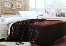"Lina Queen Brown Solid Reversible Soft Mink Blanket - Size (78"" x 90"" Inch)"