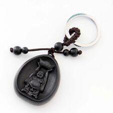 Ebony Tibet Buddhist Happy Buddha Money Amulet Alloy Metal Keyring Keychain
