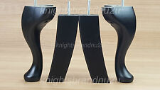 4x QUEEN ANNE LEGS SOLID WOOD REPLACEMENT FURNITURE FEET - CHAIR, SETTEE M8(8mm)