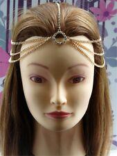 Tribal 18K Gold Fascinator Rhinestone Chain Forehead Head Hair Band Headband