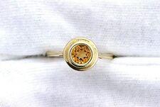10Kt REAL Yellow Gold 5mm Round Golden Citrine Gemstone Gem Bezel  Ladies Ring