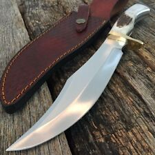 "13.5"" Iron Cougar ll Bowie Hunting Knife Genuine Stag Leather Sheath 203320"