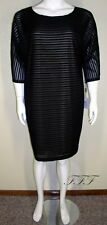 Calvin Klein NWT Plus Size 22W Black Striped Illusion Sheath Dress $144 6207