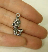 15 mermaid pendant charms tibetan silver antique 3D wholesale jewellery craft