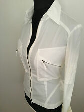 Karen Millen Ladies White Military Zip Shirt Blouse UK 10