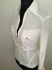 Karen Millen Ladies White Military Zip Shirt Blouse UK 10