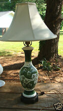 VINTAGE 1950s 60'S  PORCELAIN GREEN & WHITE FLORAL Table Lamp & SHADE  PRETTY