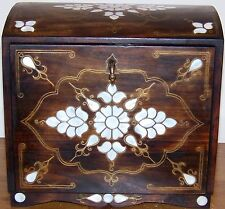 "12""x12""x9"" Handmade Turkish Mother Of Pearl Inlaid Wood Jewelery Chest Box"