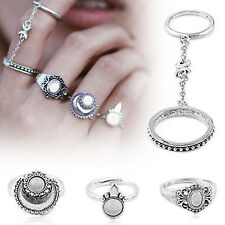5pcs Boho Silver Women Stack Plain Above Knuckle Ring Midi Finger Tip Rings Gift