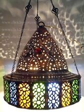 BR70 Cast Brass Oriental Jeweled Lampshade Chandelier With Color Glass