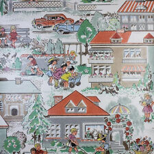 ORIGINAL 1950s 1940s Happy Home Novelty Wallpaper Vintage Original