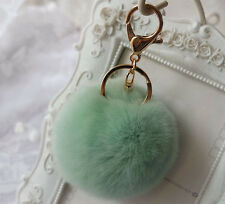Fluffy REX Rabbit Fur Ball Pendant Bag Charm Pompom Key Chain Soft