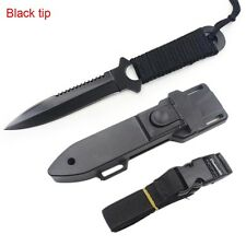 Stainless Steel Survival Hunting Fixed Blade Knife Cord-Wrapped Handle Camping