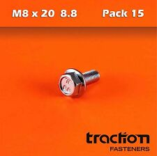 M8 x 20 Flange Bolt High Tensile 8.8 Metric 8mm 20mm Zinc Plated Hexagon Screw
